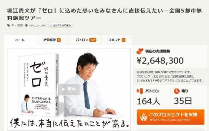 ホリエモンがクラウドファンディング「CAMPFIRE」にて秒速で250万円支援される