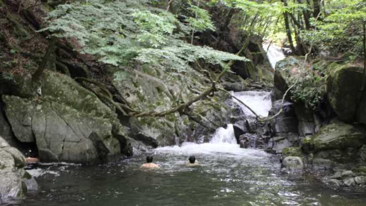 愛知県新城市作手の「保永の三滝」の滝つぼで泳いでみた![動画あり] (4)