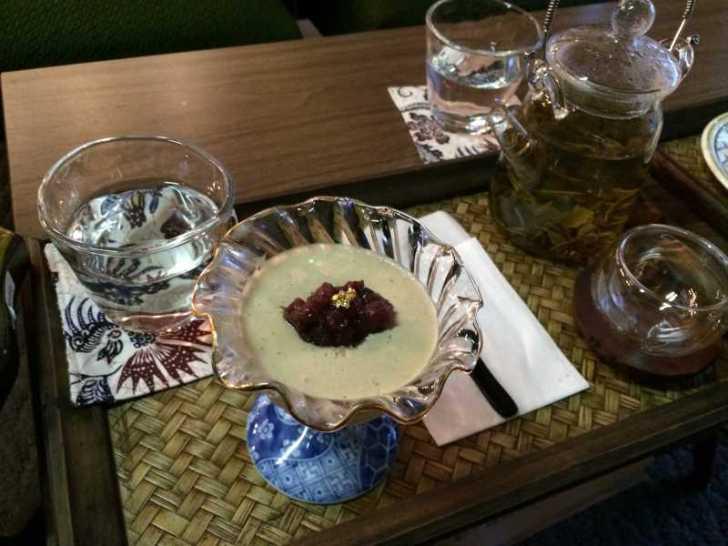 maruya(まるや)コーヒー、季節のタルト、ほうじ茶プリン、八宝茶 (1)