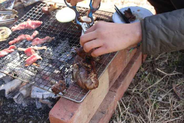 鳳来牛と鹿肉を炭火で焼きたくて、雪が降る中のBBQをやってみた! (6)