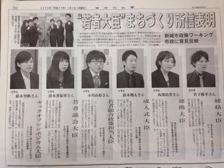 東愛知新聞2015年元旦の大ニュース:若者大臣まちづくり所信表明が掲載