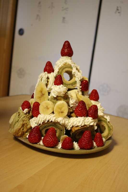 手作り抹茶バームクーヘンを「誕生日ケーキ城」にしてみた!これぞ新城!! (9)