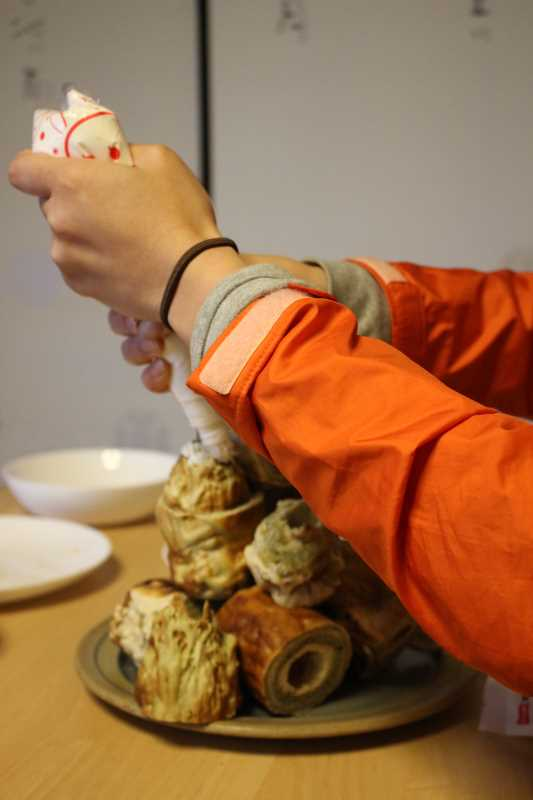 手作り抹茶バームクーヘンを「誕生日ケーキ城」にしてみた!これぞ新城!! (5)