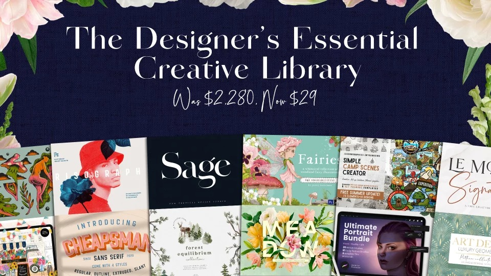 【期間限定】これはお買い得!イラスト、ブラシ、テクスチャ、フォントが、$29で購入できる期間限定セール【Design Cuts英語サイト】