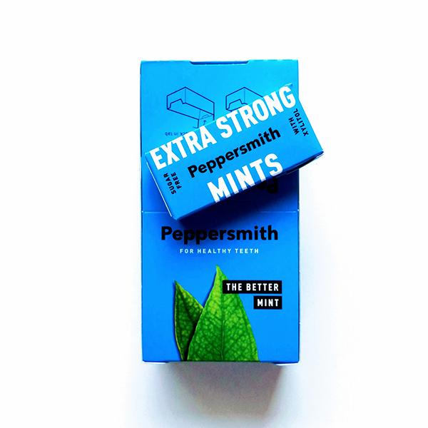 vegan pepermuntjes Peppersmith Extra Strong Mints