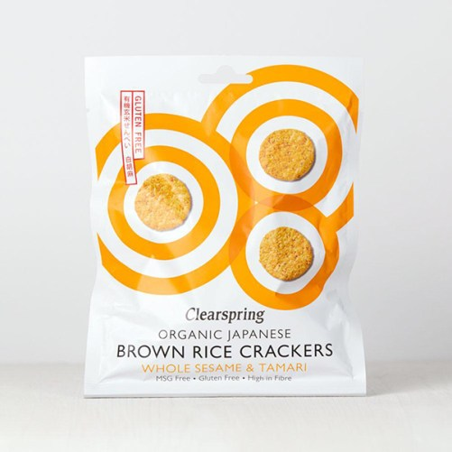 Clearspring Brown Rice Crackers whole sesame and tamari