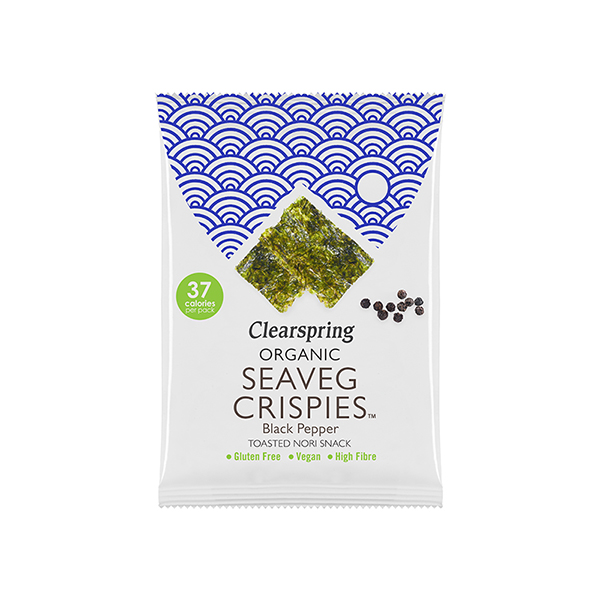 Seaveg Crispies Black Pepper van Clearspring Nori snack vegan