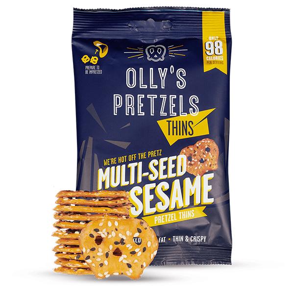 Olly's Pretzel Thins sesame vegan krakeling 35gr