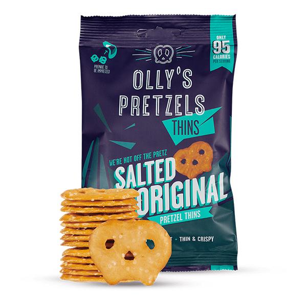 Olly's Pretzel Thins Salted vegan krakeling 35gr