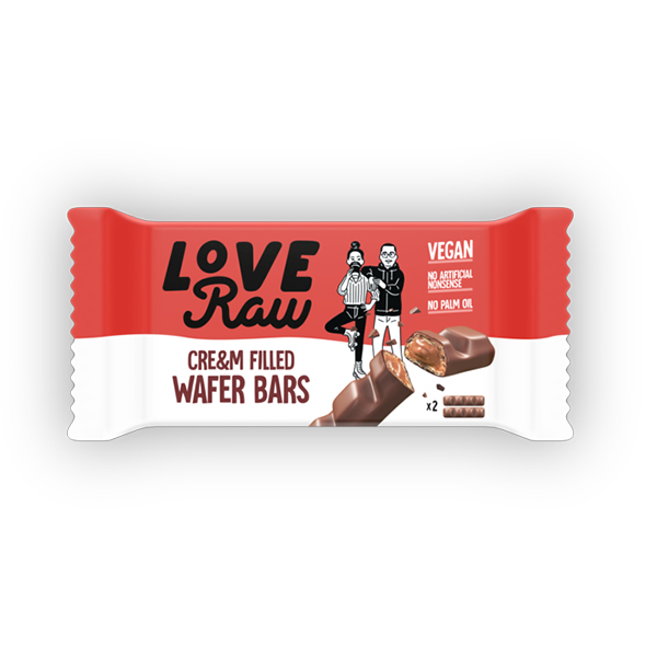 loveraw cream filled wafer bars 43gr