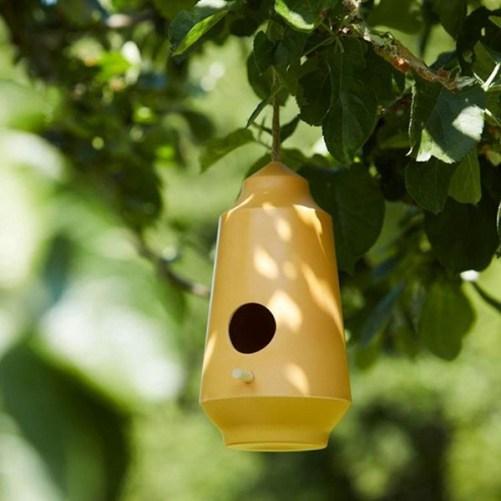 gusta geel vogelvoederhuisje duurzaam bamboevezel
