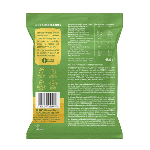 zeewier chips Abakus Foods Salt and Vinegar 18gr vegan
