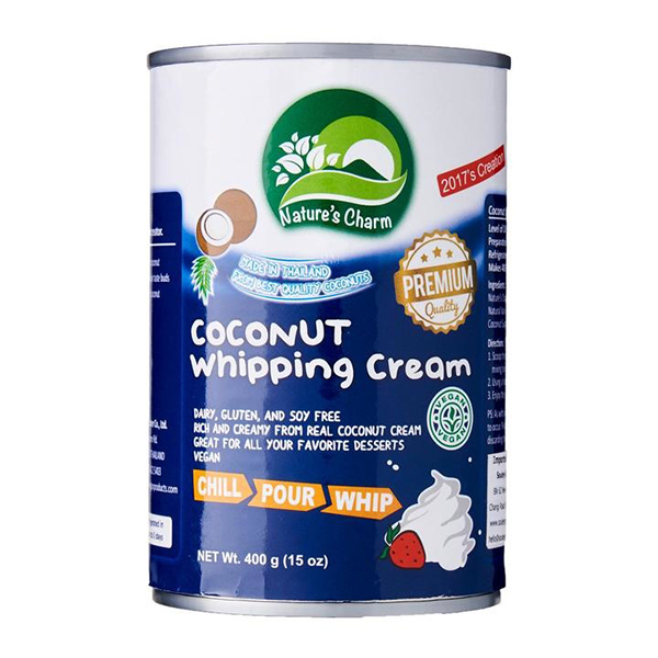 opklopbare vegan slagroom Nature's Charm Coconut Whipping Cream