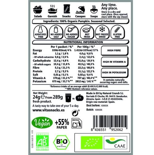 Vitasnack Pumpkin Crunch Raw Food vegan 24gr