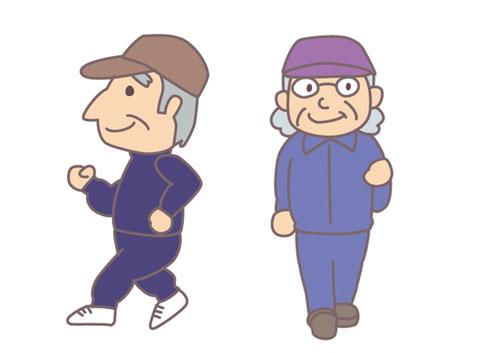 運動している老人