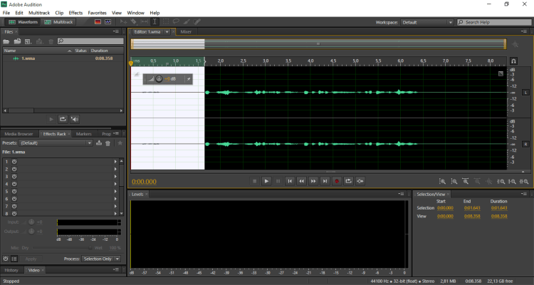 ruang kerja adobe audition 3