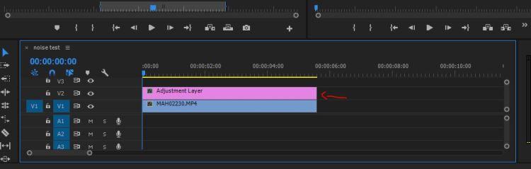 adjustment layer di sequence menghilangkan noise video