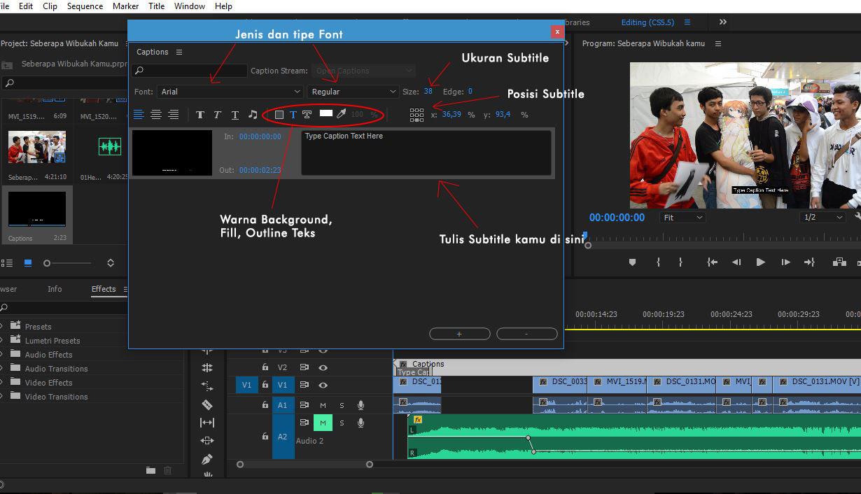 berbagai fitur subtitle Adobe Premiere Pro - cara membuat subtitle