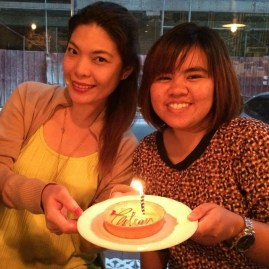 Taken after the baptism. happy birthday to us, Joy!