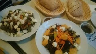 greek salad and salad with feta