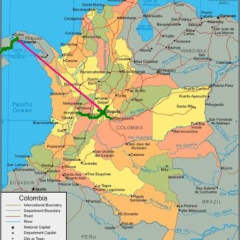 Colombia map trajet