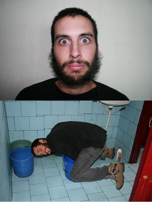 Crazy beard and washing machine