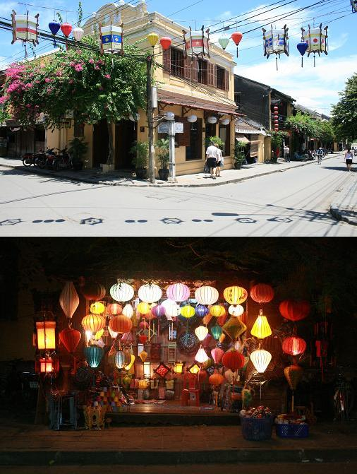 Hoi An village by day and by night lampion