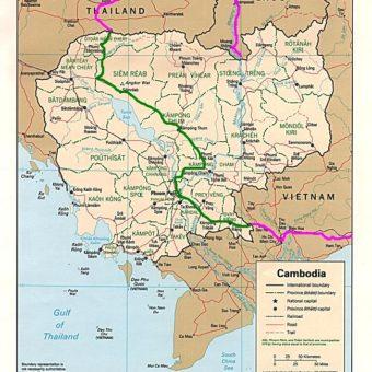 Map of Cambodia Notre trajet au Cambodge