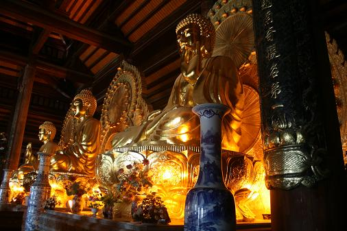 Three huge gold Buddha