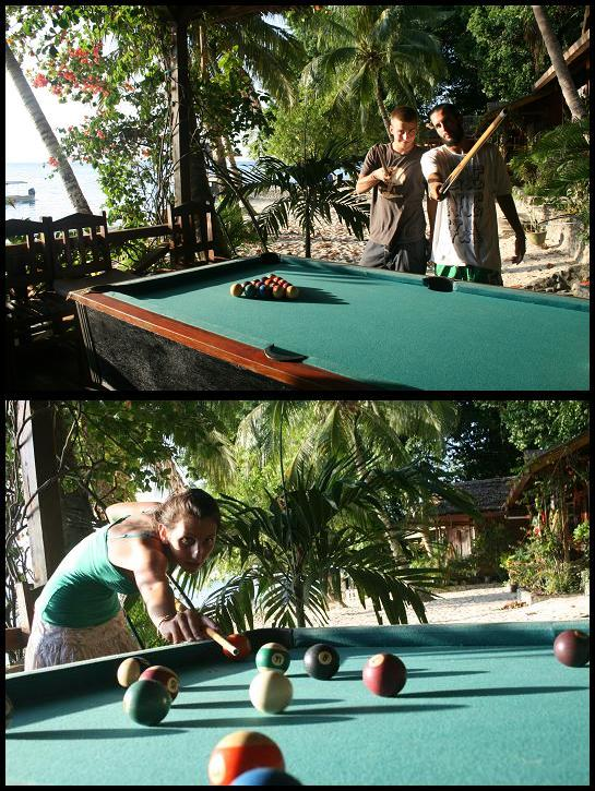 Pool table in the sand
