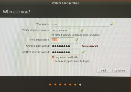 Name and password settings