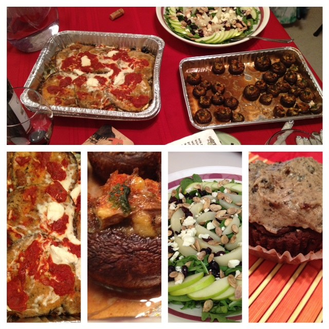 Pasta-less Lasagna, Stuffed Mushrooms, Autumn Salad, Oreo Cupcakes and Wine…Perfect Potluck!