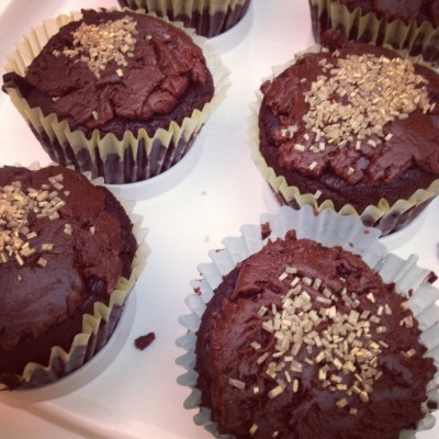 chocolate banana cupcakes and nutella fudge frosting