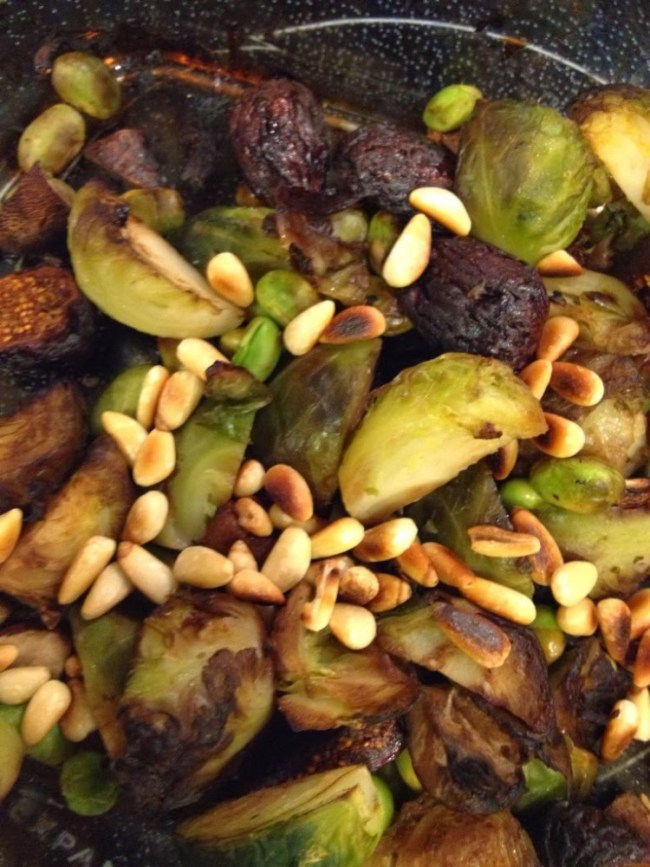 Roasted Fig Brussels Sprouts with Farro, Edamame and Toasted Pine Nuts