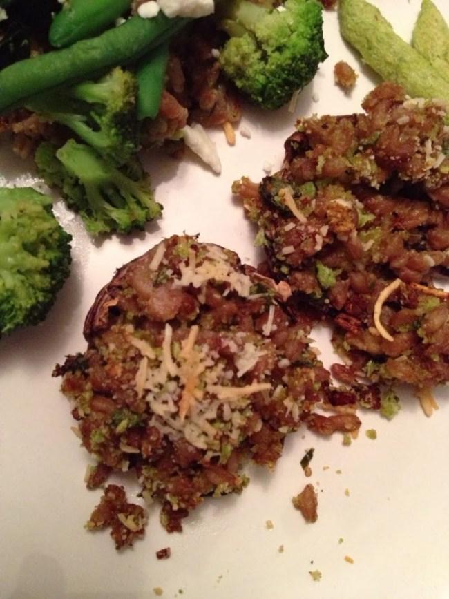 Farro Stuffed Mushrooms with HarvestSnaps Snappea Crisps
