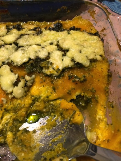 Butternut Squash and Sage Pesto Gratin with Crumbled Gorgonzola