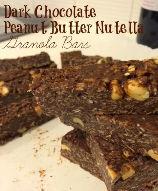 Dark Chocolate Peanut Butter and Nutella Granola Bars for #LeftoversClub