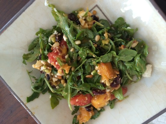 watermelon mango and arugula salad