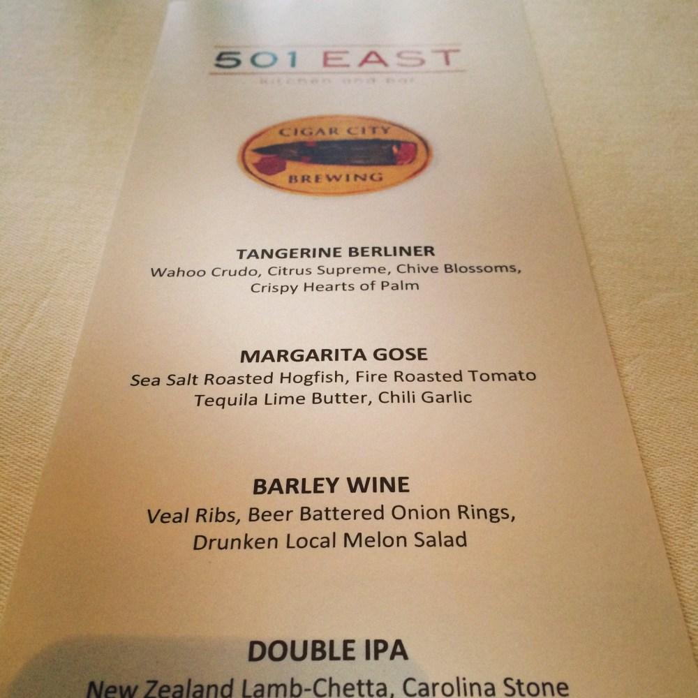 Boca Resort's 501 East Pairing Dinner with Cigar City Brewing