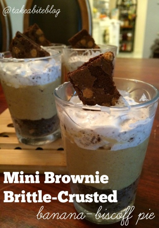Mini Brownie Brittled-Crusted Banana-Biscoff Pie