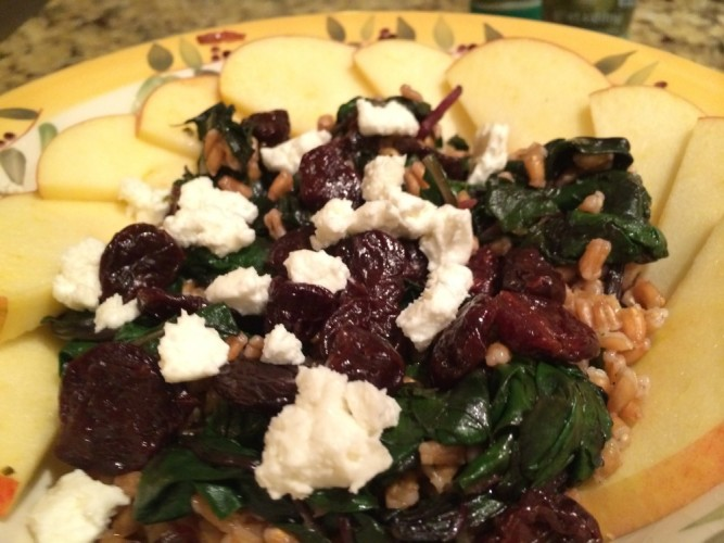 warm farro salad with beet greens, apples, and dried cherries