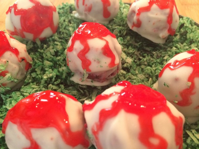 red velvet cake eye balls #sundaysupper
