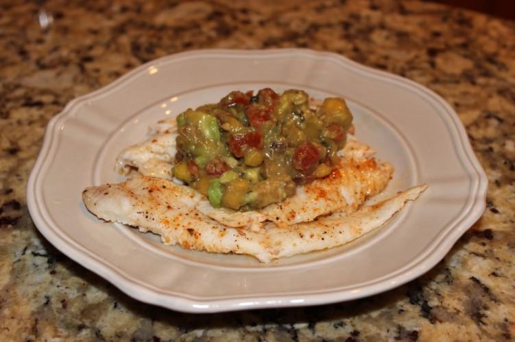 pan seared dover sole with tropical avocado salsa