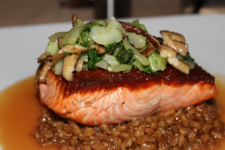 butcher block grill boca raton. pan roasted salmon with lemon spiked farro, shiitake mushrooms and bok choy, blood orange reduction