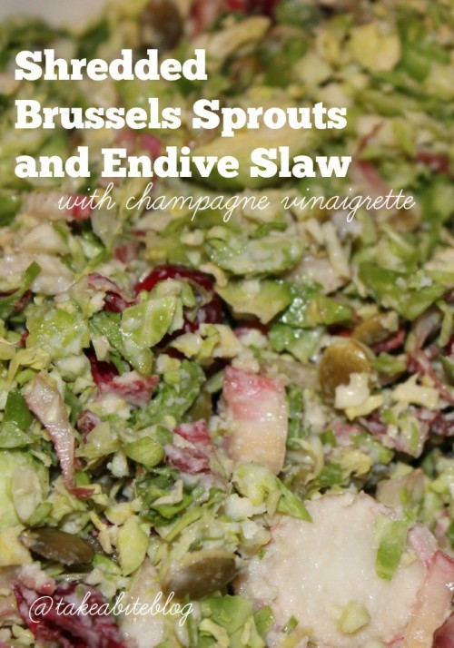 shredded brussels sprouts and endive slaw with champagne vinaigrette #sundaysupper
