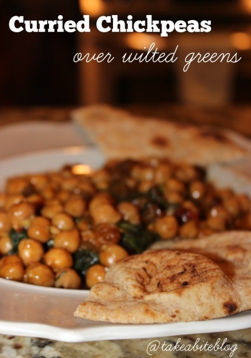 Curried Chickpeas Over Wilted Greens #WeekdaySupper