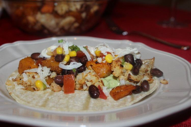 Roasted Butternut Squash and Cauliflower Tacos