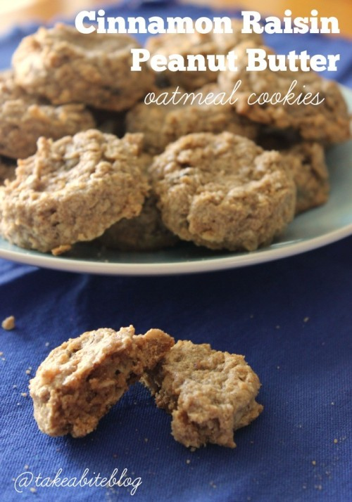 Cinnamon Raisin Peanut Butter Oatmeal Cookies #SundaySupper