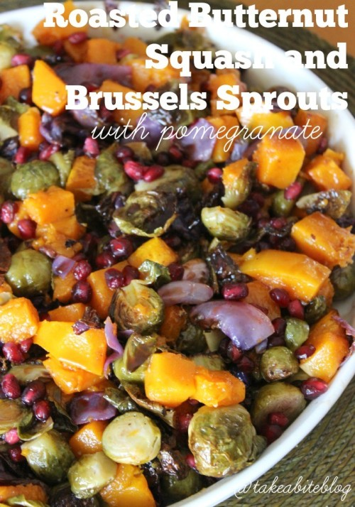 Roasted Butternut Squash and Brussels Sprouts with Pomegranate #SundaySupper