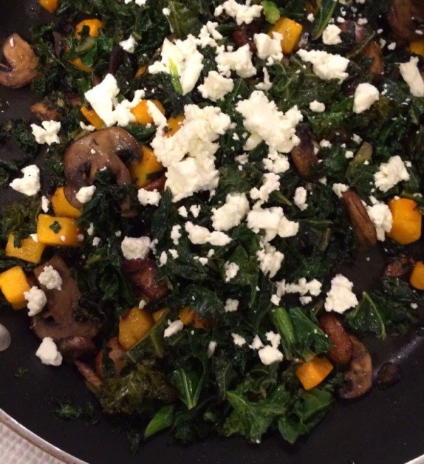Roasted butternut squash kale mushrooms